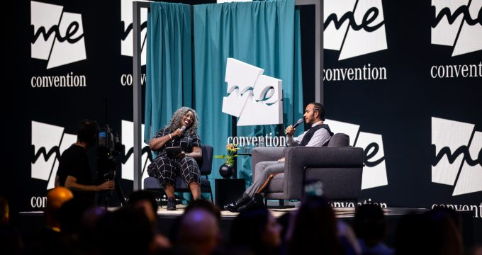 Anne-Marie Imafidon MBE and Lewis Hamilton MBE on stage at the 2019 meConvention to open the IAA Frankfurt Motor Show
